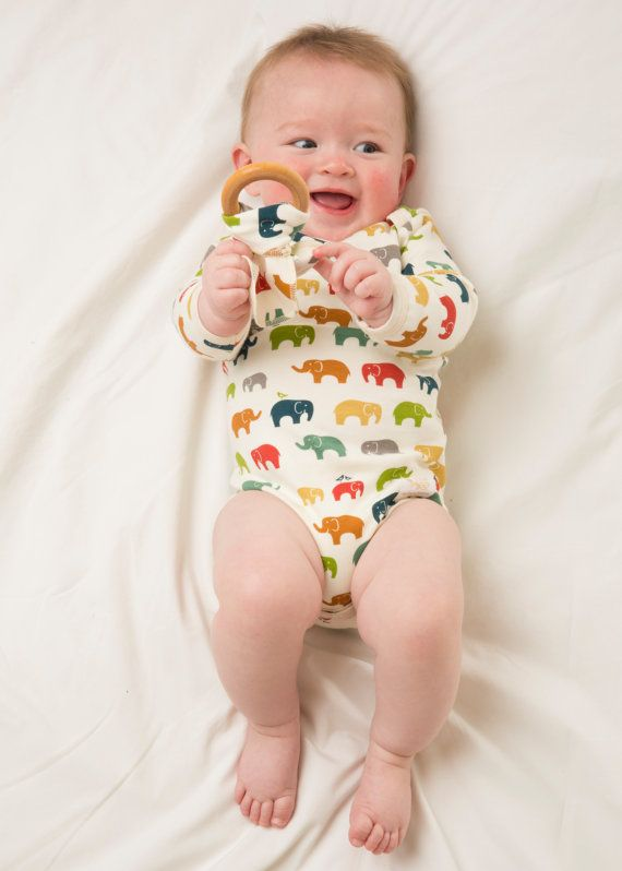 ORGANIC Elephant body suit Bright multi made in by luckypalmtree, $41.99
