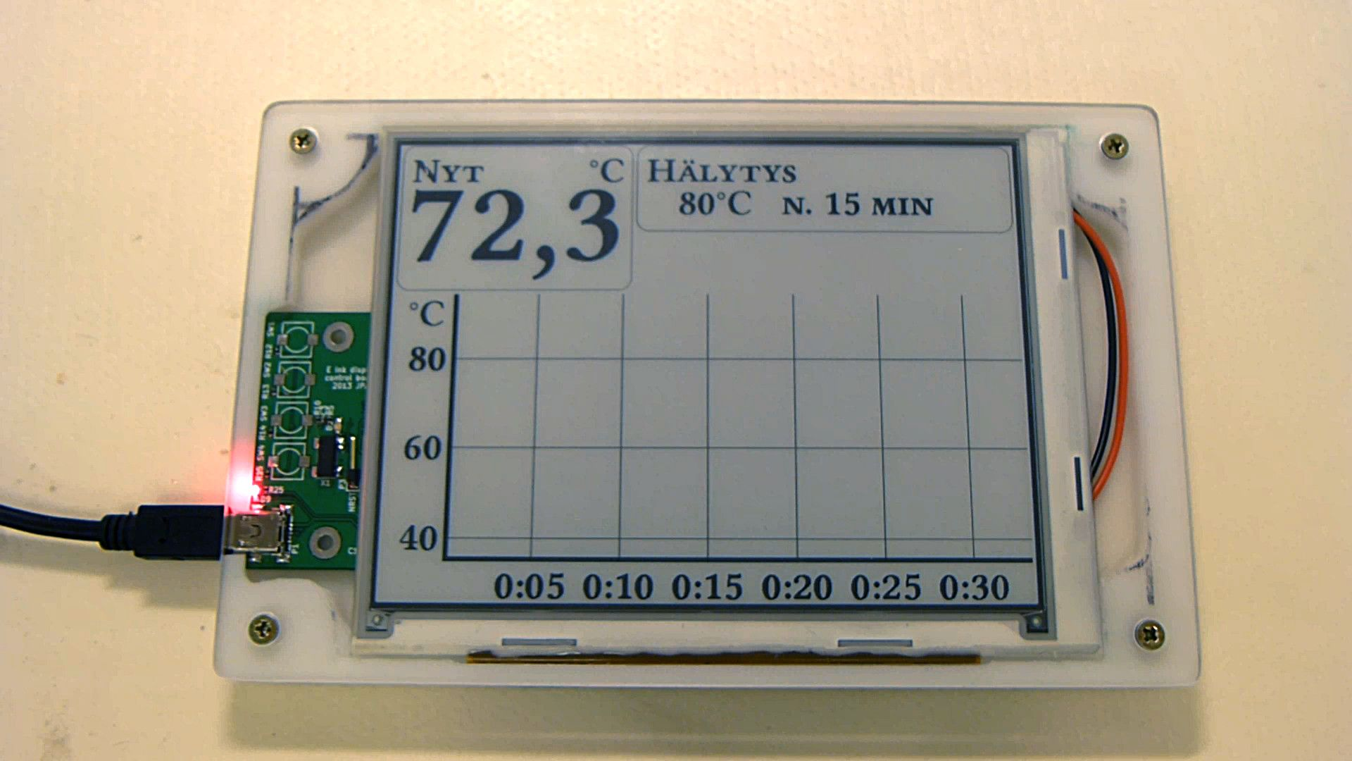 A mockup of thermometer GUI on e-ink display  | arduino display