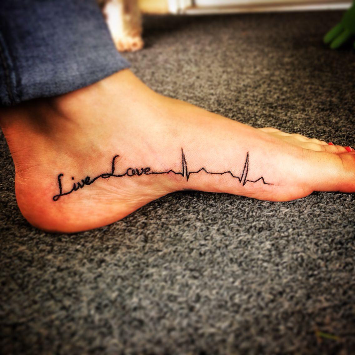 Foot tattoo, live love, ekg rhythm Ekg tattoo, Foot
