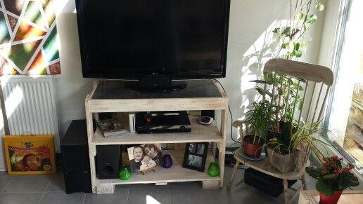 Meuble tv palette + etagere industriel meuble palettes Pinterest