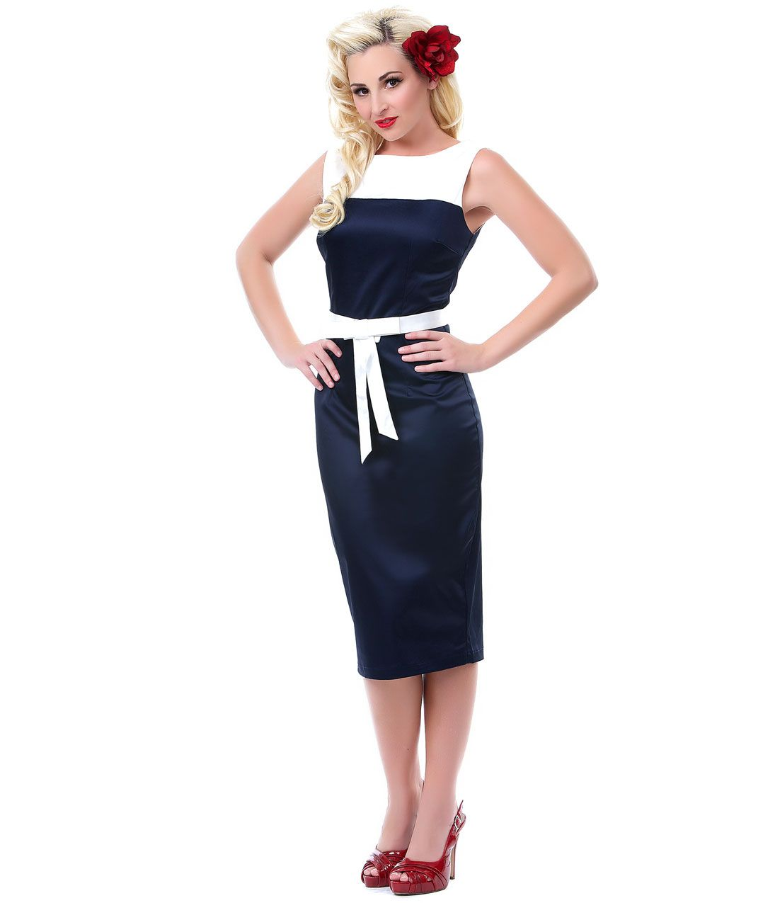 Navy u white lady luck pencil dress unique vintage pinup