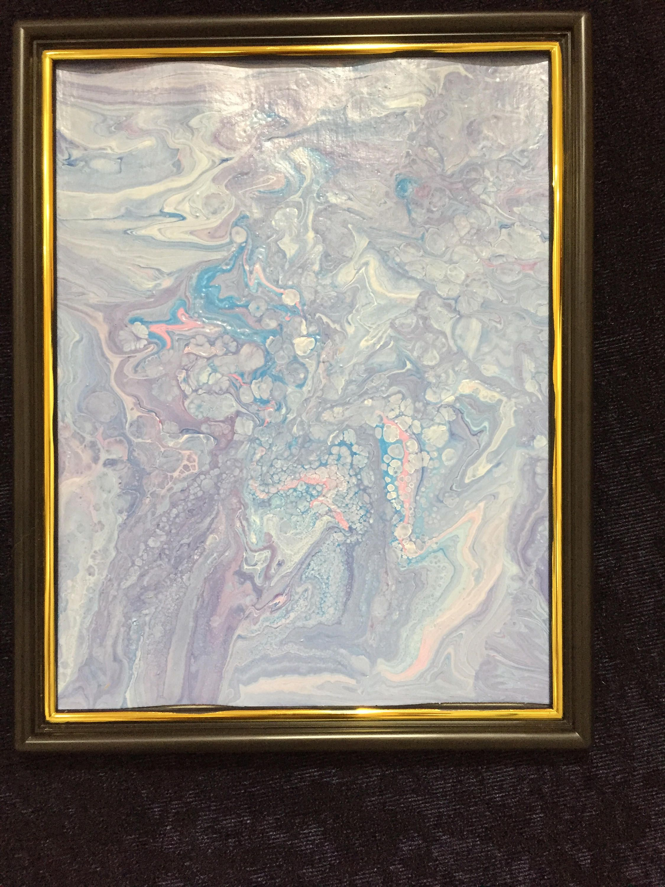 Abstract Original Poured Acrylic Painting - Framed 8.5 x 11 inches ...