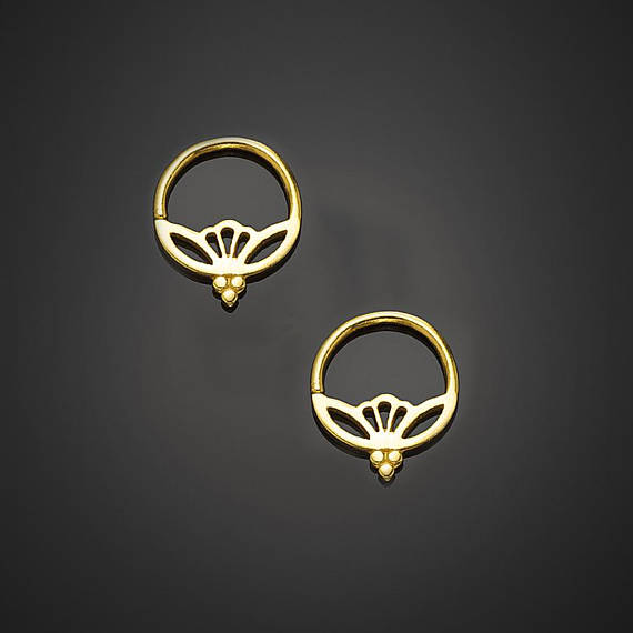 Small Hoop Earrings Lotus Tiny Silver Gold Hoops Indian Jewelry Tribal Boho