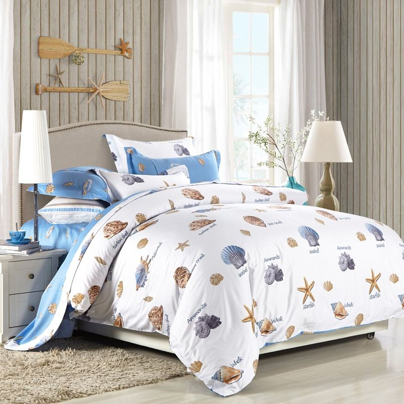 Light Blue Brown And White Starfish Seashell Print Tropical Hawaiian Style Beach Themed 100 Cotton Full Queen Size Bedding Sets