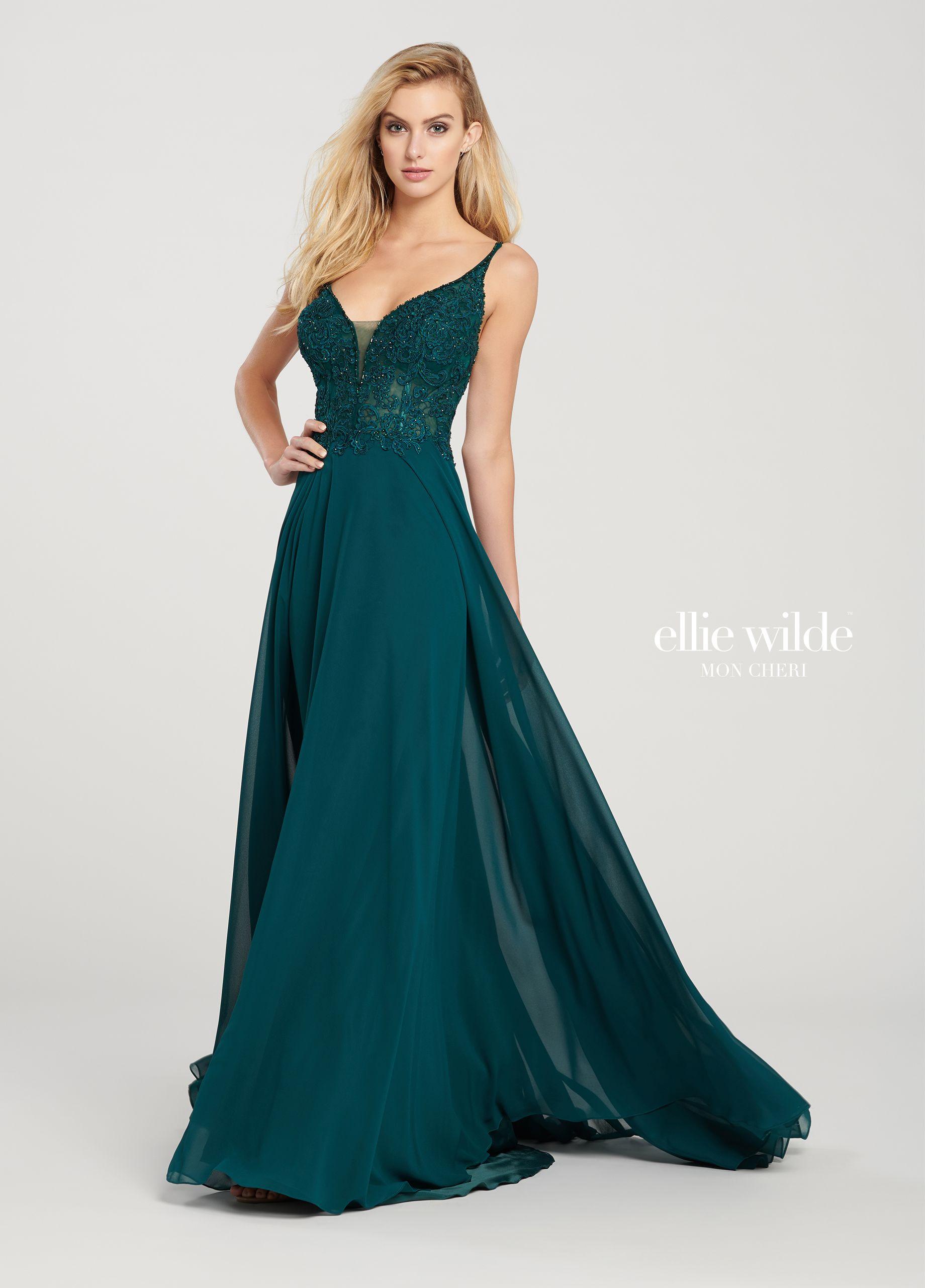 d4e50defad A-Line Prom Dress with a Beaded Bodice   Chiffon Skirt- EW119155 ...