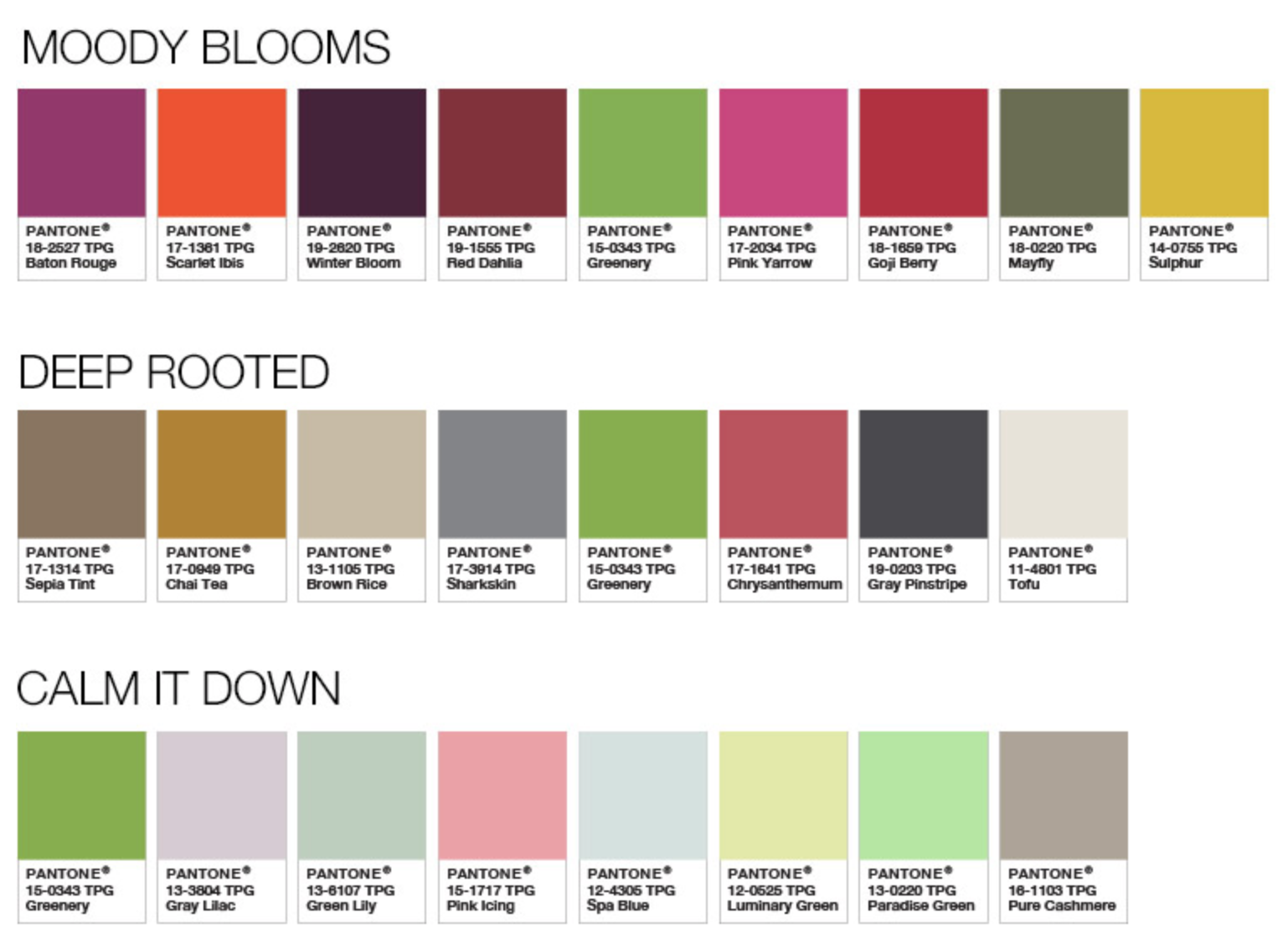 Pantone Color Palettes Moody Blooms Deep Rooted Calm It