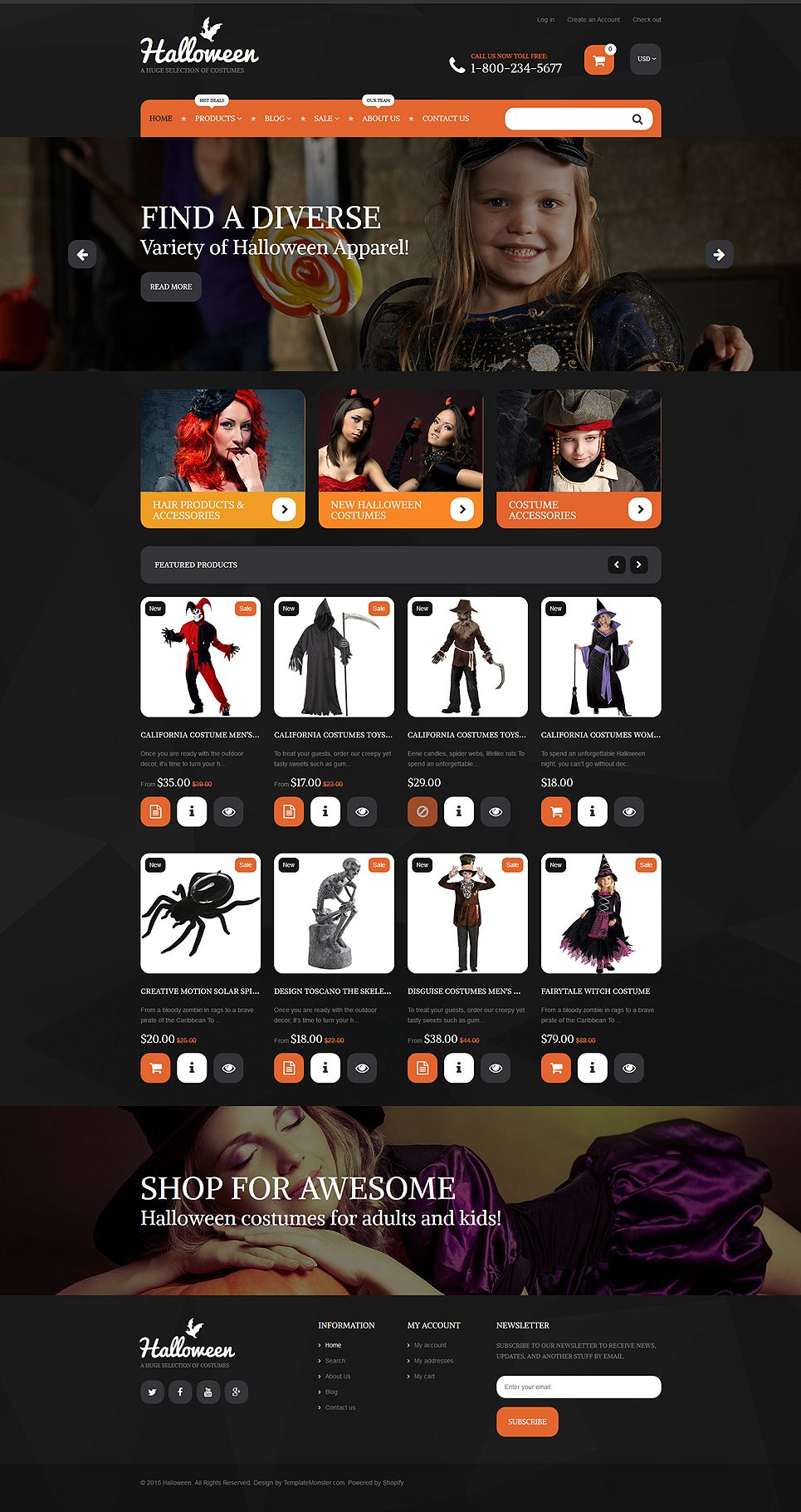 Halloween costumes shopify theme in 2018 shopify themes more than website templates available halloween costumes shopify theme ecommerce onlinestore httptemplatemonster maxwellsz