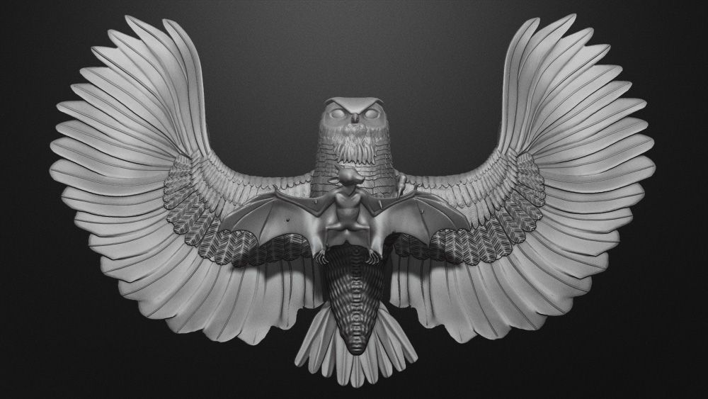 great free zbrush model from bad king the bat and the owl zbrush