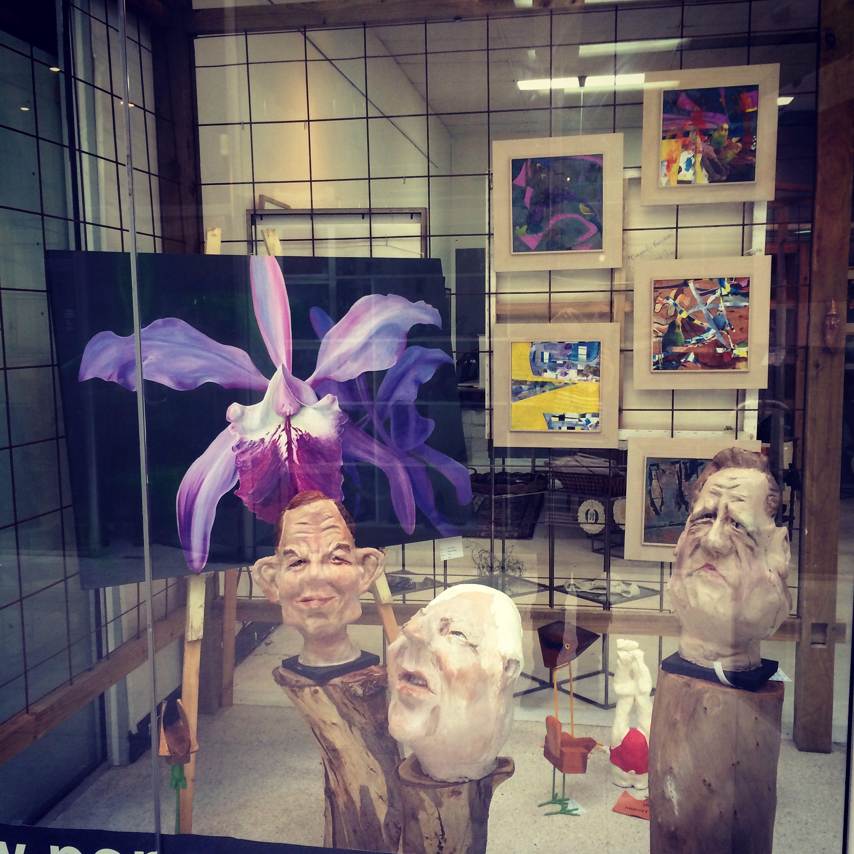 Window of the week.....beauty and the beast(s) ! #art #gallery #orchid #satire #politics #tonyabbott  #liberals
