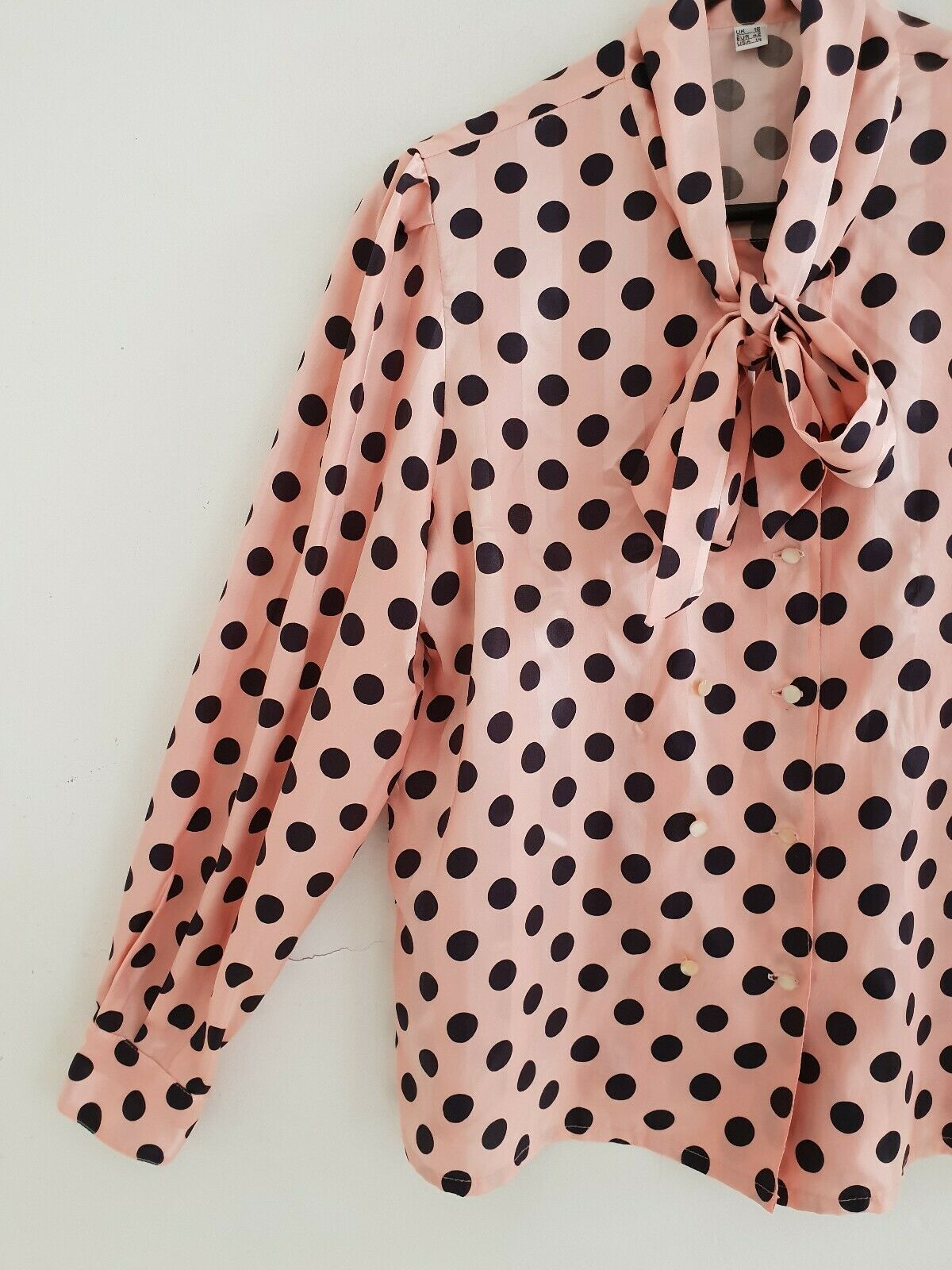 Vintage Spot 80s Blouse Ebay Dress Shirt Sleeves Spotted