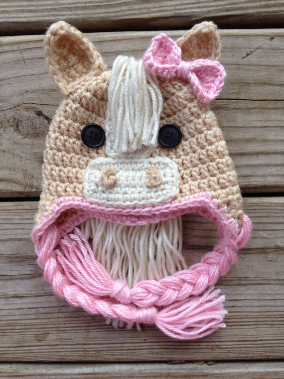 Adorable Newborn Pink Crochet Horse Hat by GiftsforGenevieve, $18.50 ...