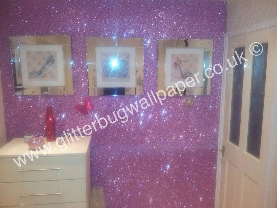 #pink #glitter #wallcovering #wallpaper #princess # ...