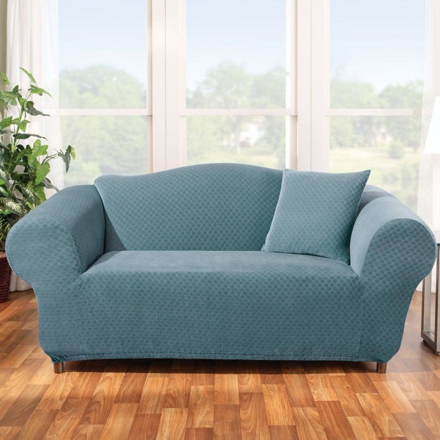 Groovy Sure Fit Stretch Stone Loveseat Slipcover In Teal Box Uwap Interior Chair Design Uwaporg