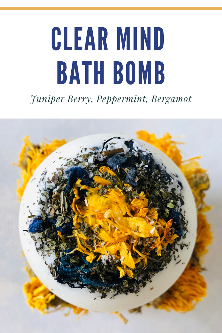 Clear Mind organic bath bomb is made with a blend of juniper berry essential oil, bergamot essential oil, and peppermint essential oil to promote mental clarity and focus. This bath bomb is the perfect addition to your self care routine. Our bath bombs are handcrafted with organic 100% pure essential oils  for a luxurious aromatherapy experience. #aromatherapy #essentialoils #essentialoilblends #bath #clear #focus #clarity #herbalremedies #herbalbath #herbal #organic #bathandbodycare #mentalheal
