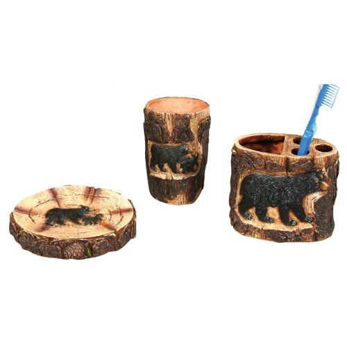 Black Bear Bathroom Accessories Set Nice Rustic Look