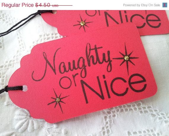 naughty or nice christmas gift tags red set of 8 - Nice Christmas Gifts