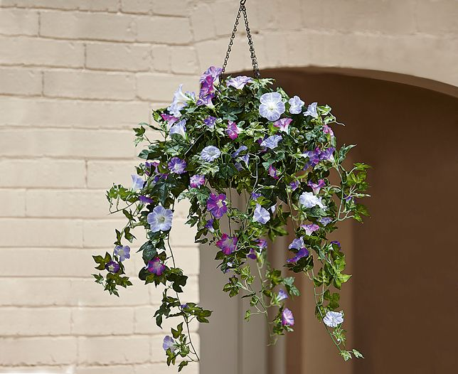 Morning Glory Hanging Basket Bloom Artificial Flowers