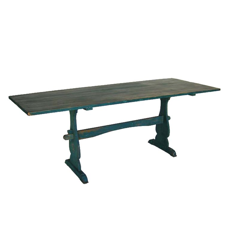 Superior From Dos Gallos Antique Swedish Farm Table Sweden Early 1900u0027s Narrow  Trestle Table With Original Blue