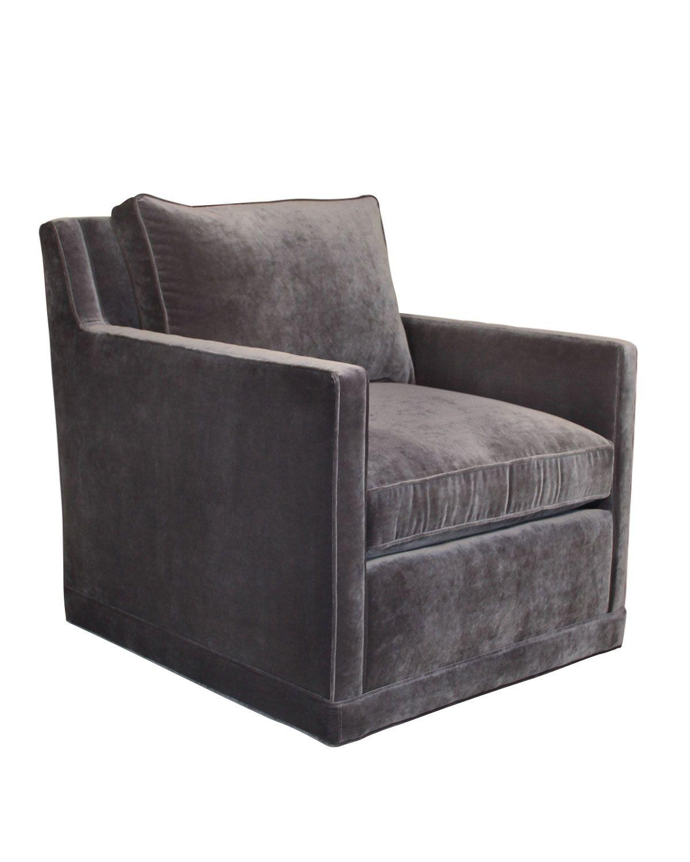 Nina st clair gray velvet swivel chair neiman marcus