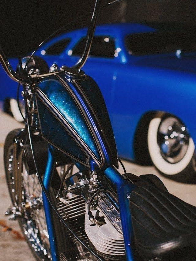 Blue Metal Flake Panhead Custom Motorcycle Paint Jobs Custom Cars Paint Panhead Bobber