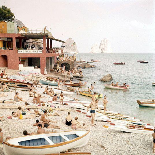 Capri, spiaggia anno 1960
