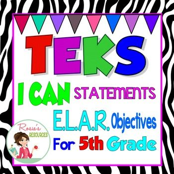 TEKS Posters 5th Grade Reading And Writing TEKS I Can