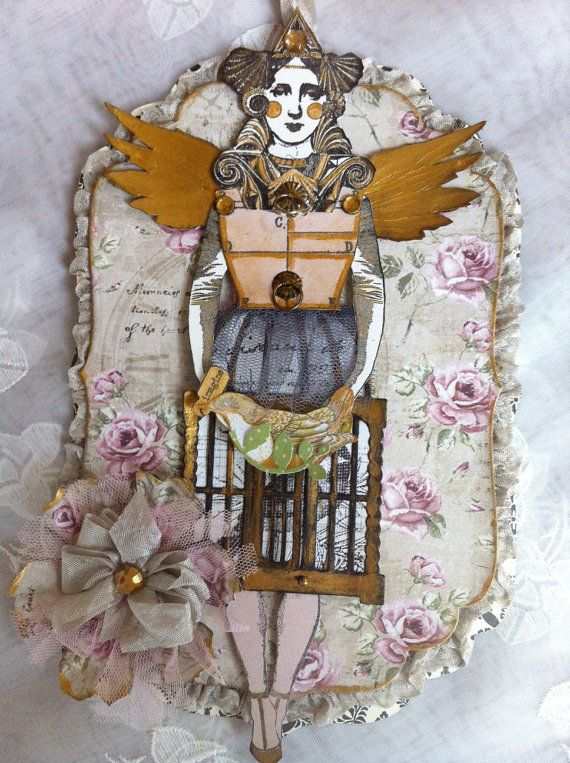 Paper+Doll+Tag+Art+Doll+Articulated+Mixed+Media+by+ParisPluie,+$15.00