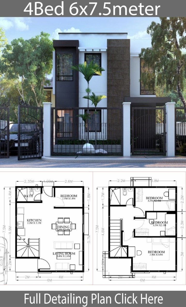 Small Home Design Plan 6x7 5m With 4 Bedrooms Home Design With Plan Small House Design Plans Modern Small House Design Small House Design