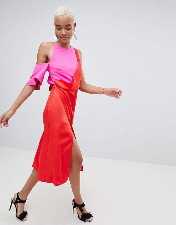 Asos Design Colour Block Satin Asymmetric Drape Pencil Midi Dress ...