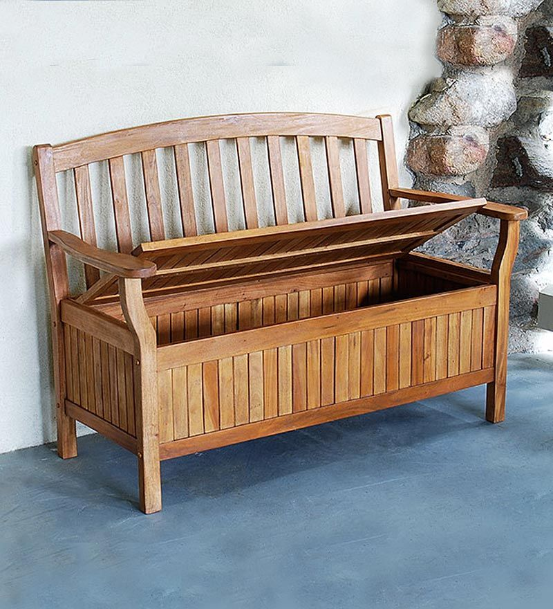 Eucalyptus Patio Storage Bench Is Weather Resistant And Great For Storing Outdoor Cushions Other Items