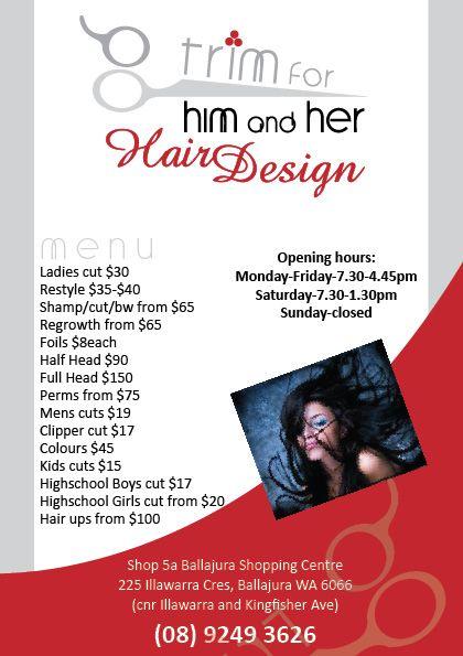 hair salon a5 flyer