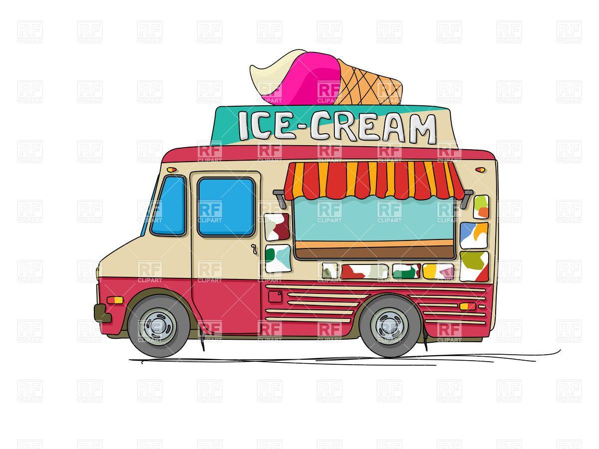 Royalty Free Vector Image Of Ice Cream Delivery Cartoon Van
