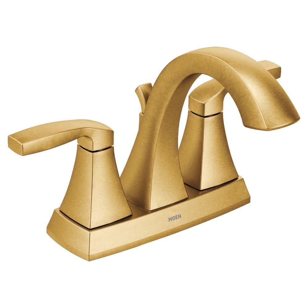 Moen Voss 4 In Centerset 2 Handle Bathroom Faucet In Brushed Gold