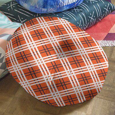 East Urban Home Denver Football Luxury Round Pillow Cover & Insert, Polyester/Polyfill/Polyester/Polyester blend in Orange/Blue/White | Wayfair