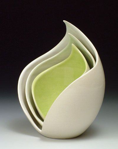Nest, 9 in. (23 cm) in height, porcelain,  fired to cone 6 in oxidation, 2009.
