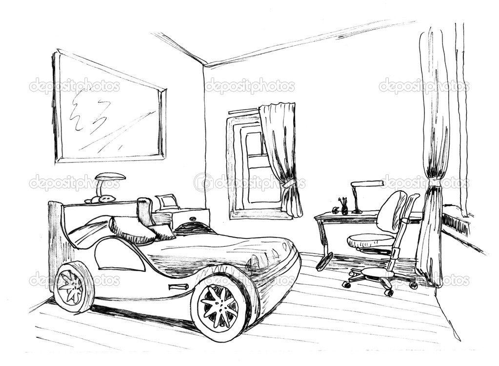 Kids Bedroom Drawing architectural interior bedroom sketches - google search | house