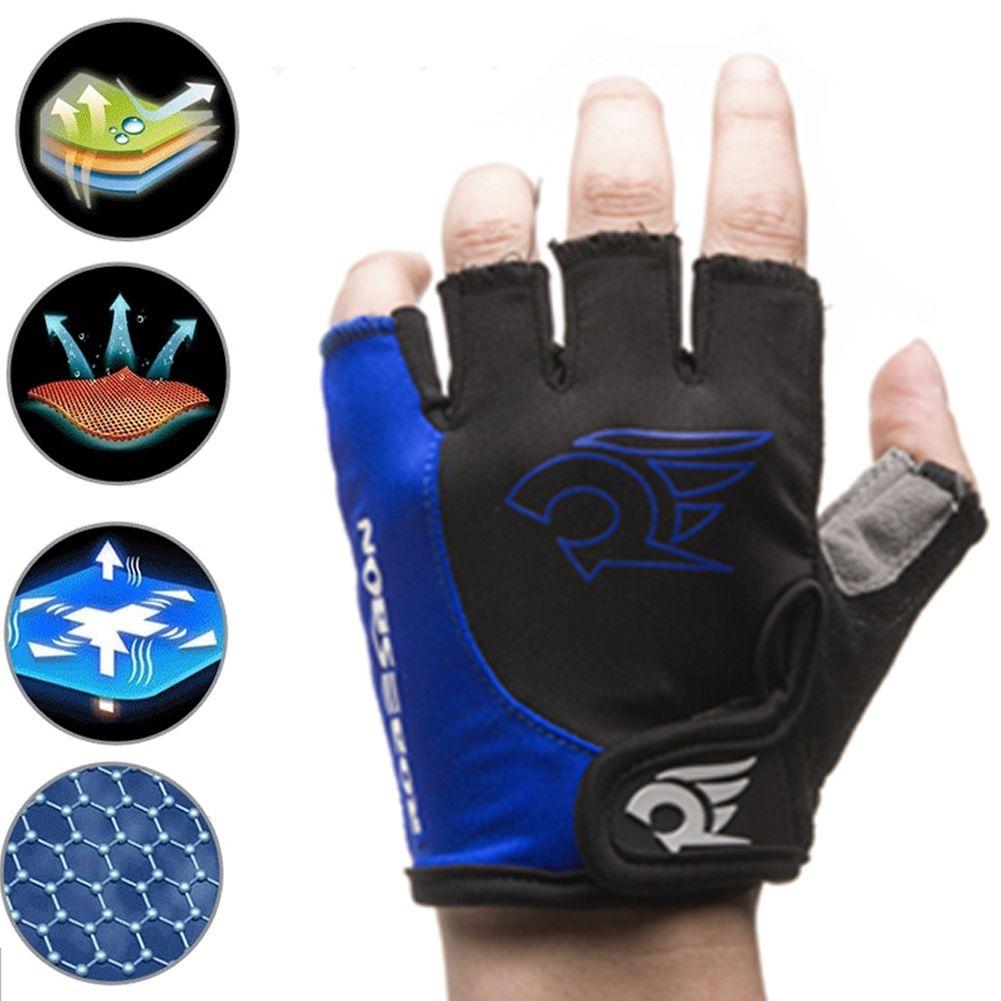 1Pair  Anti Slip Gel Pad Bicycle Gloves Half Finger Cycling Gloves Sports Blue L