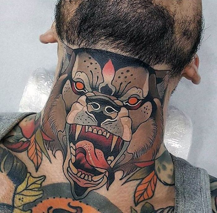 1001 Idees Neo Traditionnel Tattoos Throat Tattoo Et
