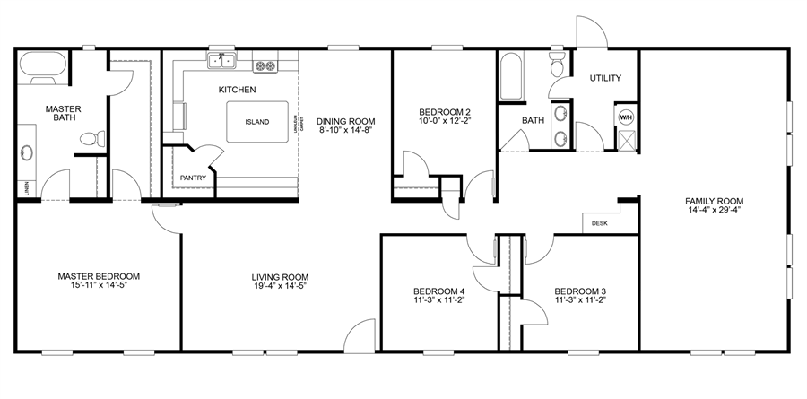 Oakwood Homes Floor Plans floorplan summit 32x80(76) | 29sum32764ch | oakwood homes of