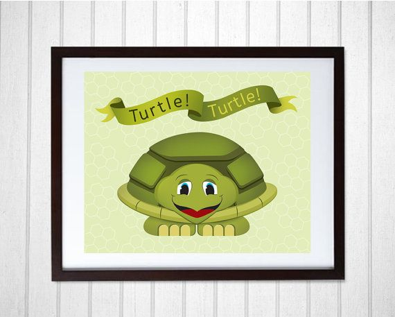 Sea Turtle Wall Art for Children | Coastal Decor Beach Art Print ...