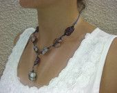 Mother's Day Gift,  Natural sea stones and blue wire bending necklace