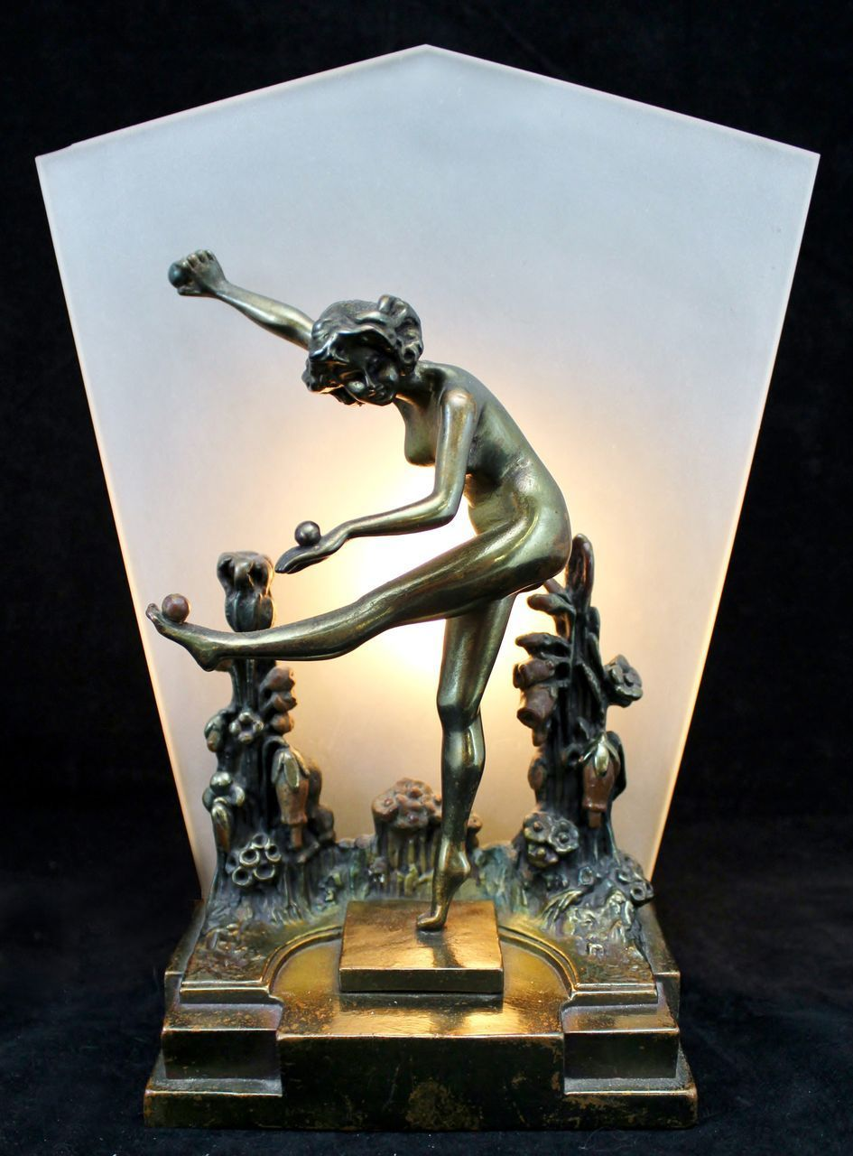 Pompeian Bronze Art Deco Lamp Nude Woman Dancing in Flowers Art