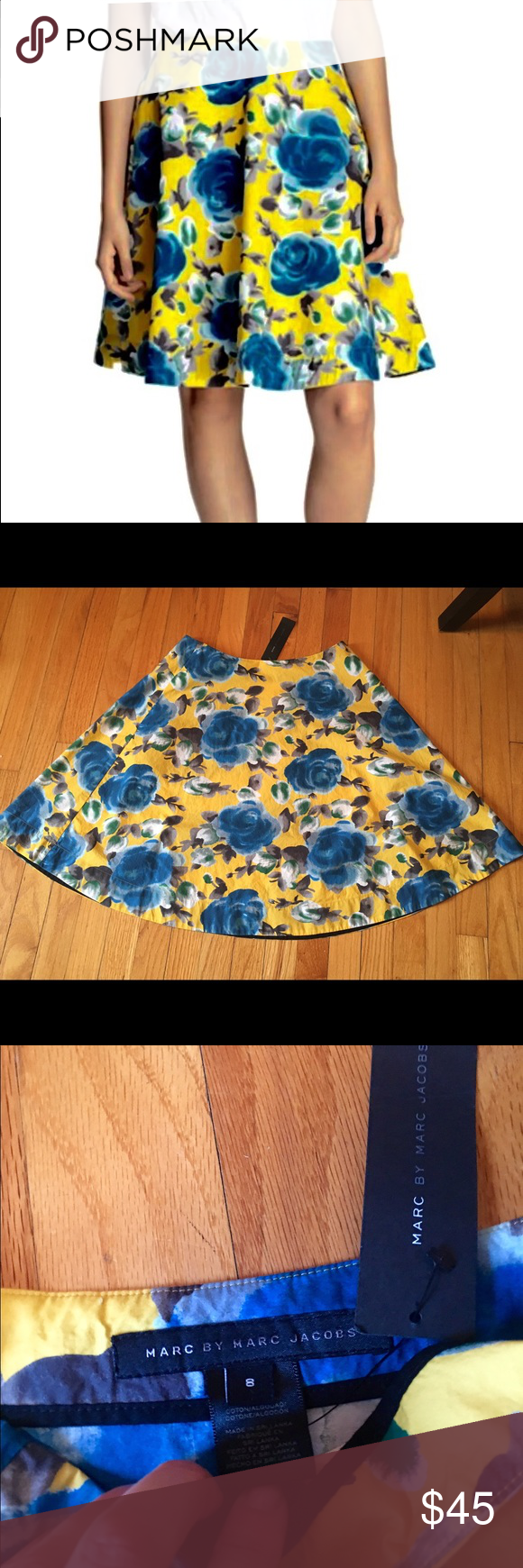 NEW Marc Jacobs Jerrie Rose Floral Circle Skirt Beautiful NEW Marc by Marc Jacobs vintage inspired floral skirt, featuring blue roses on a yellow background. Size 8. Perfect for spring and summer! Marc by Marc Jacobs Skirts Circle & Skater