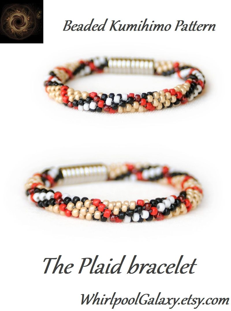 Beads instructions - The Plaid Bracelet In World Famous Colors Kumihimo With Beads Pdf Pattern Patterns