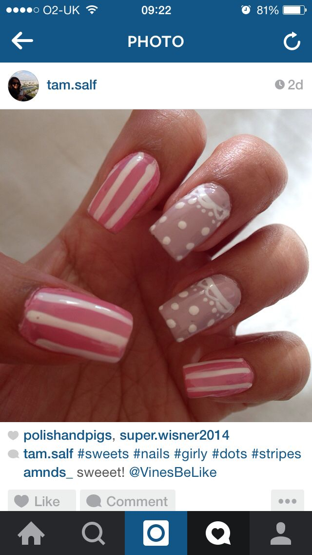 Sweets stripes dots nails