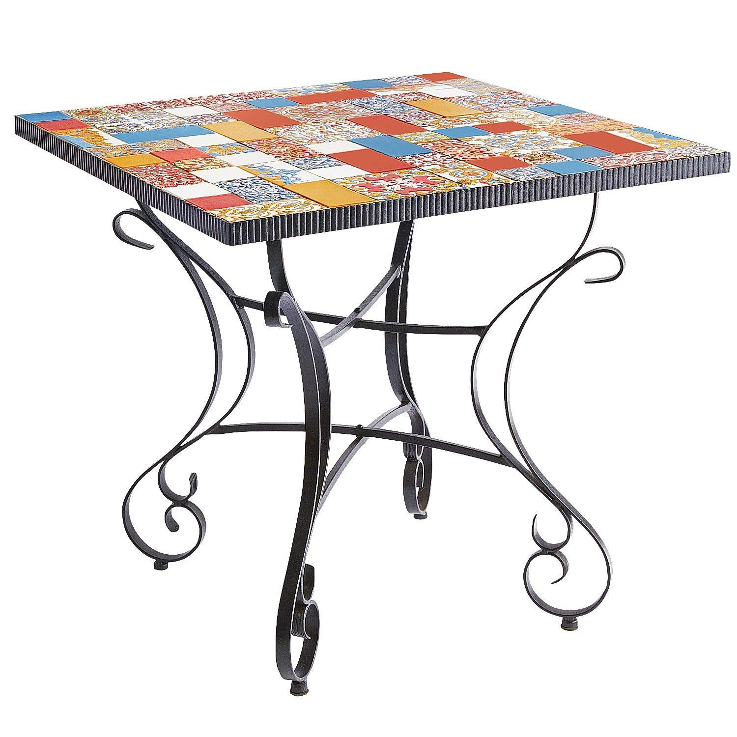 Multi Colored Caspian Mosaic Square Dining Table   Wrought Iron   Outdoor