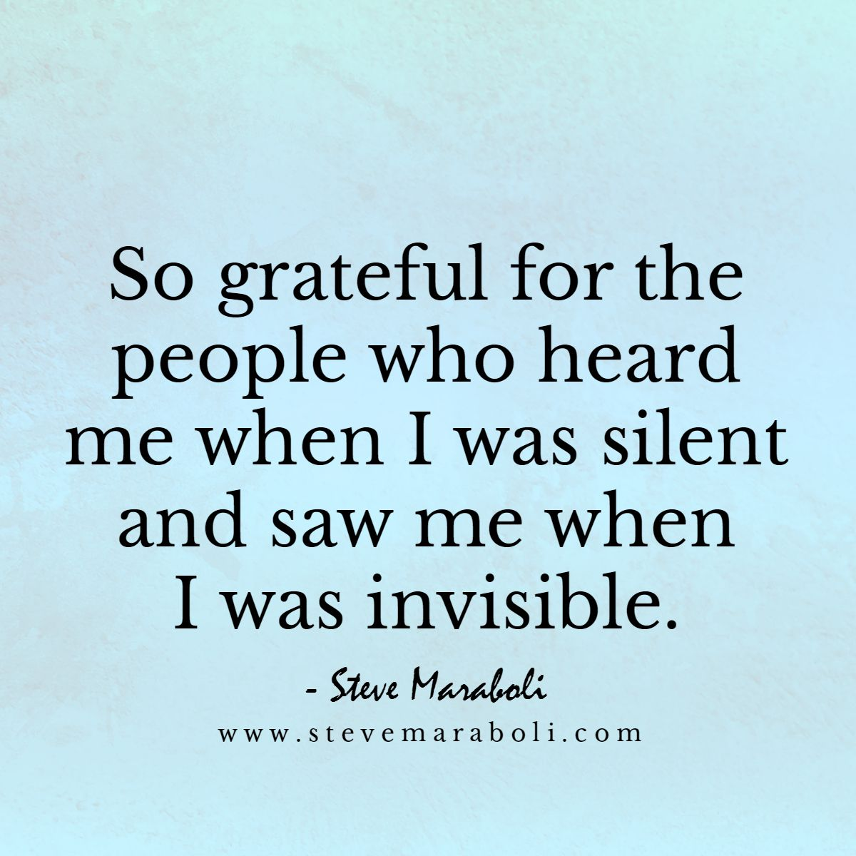 So grateful for the people who heard me when I was silent and saw me when I was invisible.  - Steve Maraboli