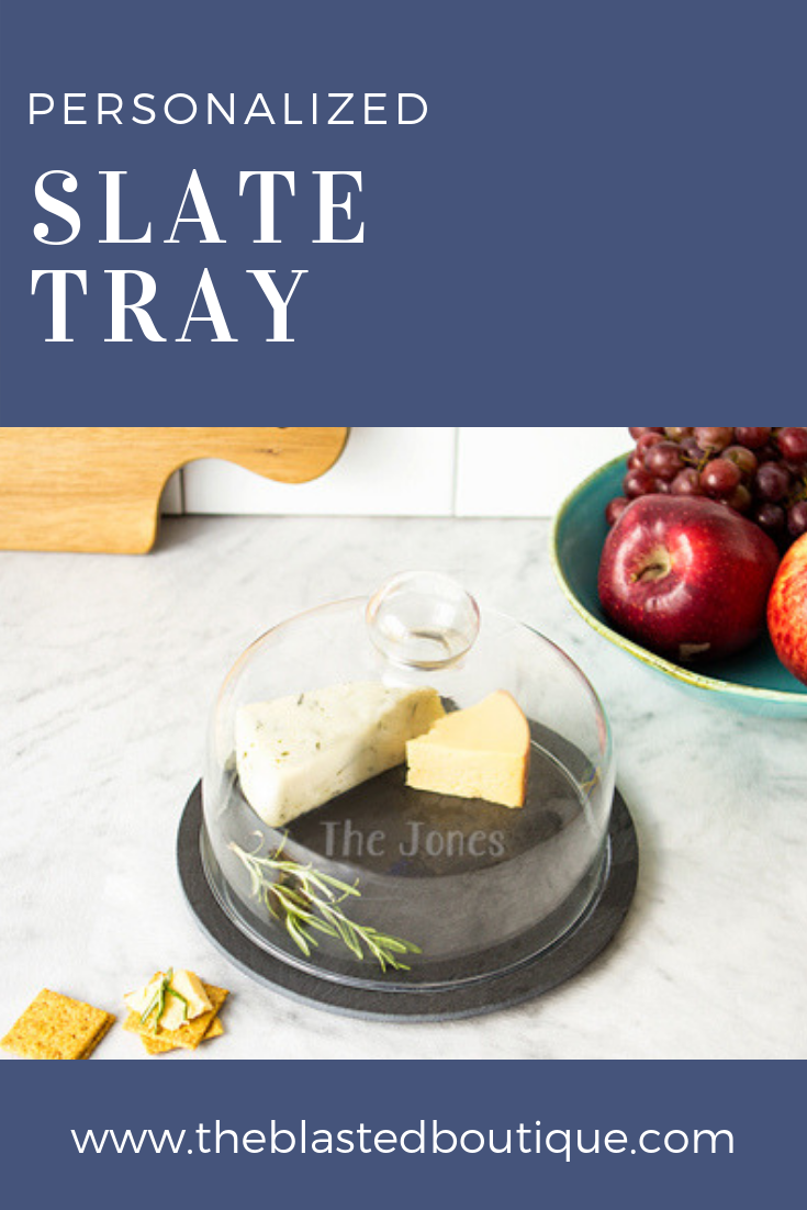 Personalized Slate Tray with Glass Dome Shop The Blasted Boutique