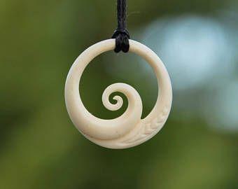 Maori Koru Ocean Wave Hand Carved Cow Bone Pendant Bone Carving Bone Pendant Bone Jewelry