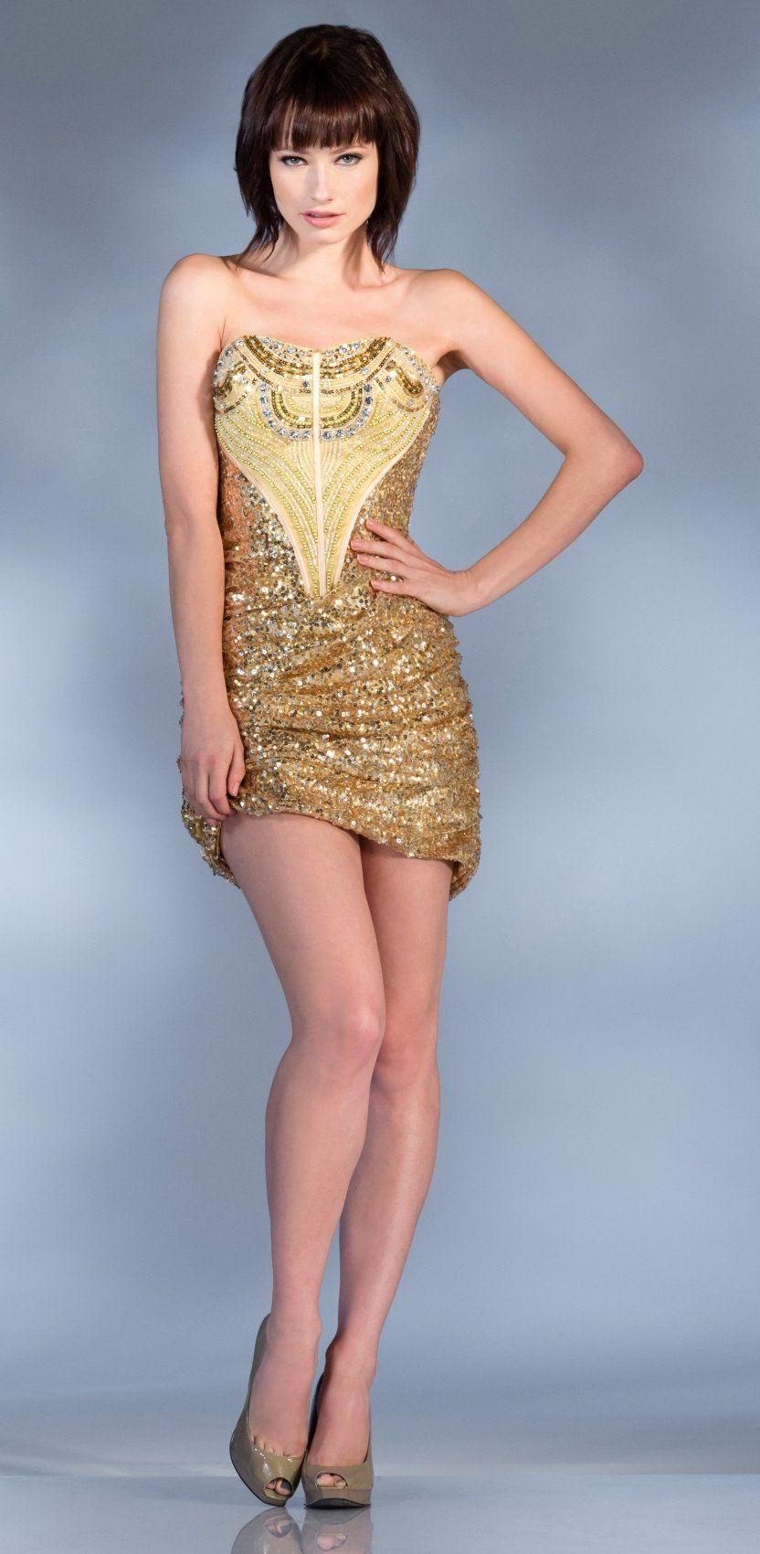 Dazzling short gold sequin dress strapless ornate beading